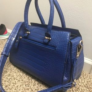Macy's Bags - Vibrant Blue Structured Faux Snake Skin Purse